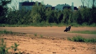 Motorcycle racing HD slow motion static video. Moto riders turn. Extreme sport Stock Footage