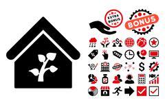 Greenhouse Building Flat Vector Icon with Bonus Stock Illustration