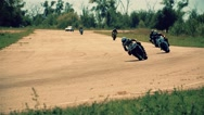 Motorcycle racing HD slow motion video. Moto riders circuit city road track Stock Footage