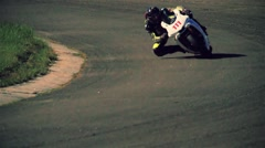 Motorcycle rider turn circuit road track racing HD slow motion video Stock Footage