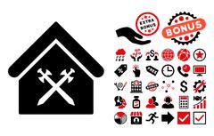 Guard Office Flat Vector Icon with Bonus Stock Illustration