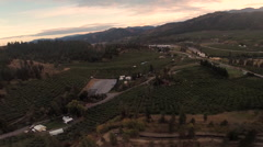 Aerial: Country Living and Farmlands at Dusk Stock Footage