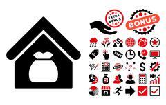 Harvest Warehouse Flat Vector Icon with Bonus Stock Illustration