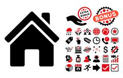 Home Building Flat Vector Icon with Bonus Piirros