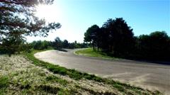 Motorcycle racing 4k aerial video. Moto rider in turn on circuit road track Stock Footage