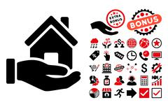 Home Offer Flat Vector Icon with Bonus Stock Illustration