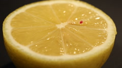 Cut half fresh hybrid lemon containing GMO, sour juicy pulp, bitter yellow peel Stock Footage
