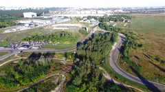 Flying over road racing track 4k aerial video. Races: off-road circuit motocross Stock Footage