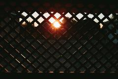 Wooden lattice at sunset Stock Photos