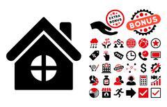 House Building Flat Vector Icon with Bonus Piirros