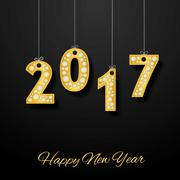 Happy new year. Golden number with diamonds Stock Illustration