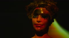 4K Scary Doll Head With Flames Around Stock Footage