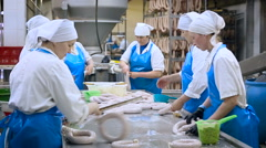 Meat Product Manufacturing. Producing Sausages Producing Department. Employees Stock Footage