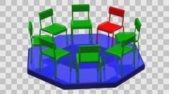 Concept: meeting. Chairs turn around. 3D rendering. Stock Footage
