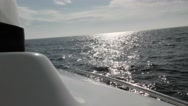 Perfect serene shot from catamaran starboard side on a sunny day under full s Stock Footage
