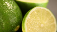 Green lime cut before squeezing refreshing energetic juice, healthy lifestyle Stock Footage