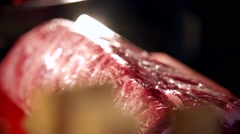 Fresh meat in slow motion Stock Footage