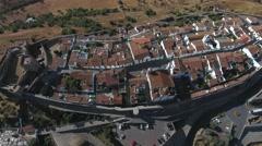 Alentejo old village monsaraz castle aerial shot 4k Stock Footage