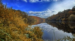 Autumn timelapse with lake Stock Footage