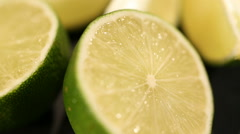 Sour lime prepared as ingredient for cooking dish or cocktail, vitamin C source Stock Footage