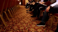 People sit and listen to the conference or presentation, workshop, master class Stock Footage