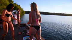 Millennials enjoying a day at the lake Stock Footage