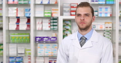 Attractive Pharmacist Man Positive Response Yes Answer Druggist Male Drugstore Stock Footage