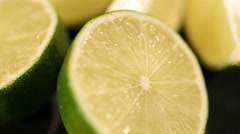 Juicy green lime closeup, citrus fruit rich in sugars and acids, healthy diet Stock Footage