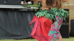 Two Polynesian dancers performing a traditional dance Stock Footage