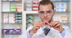 Medicine Drug Research Lab Young Chemist Man Pharmaceutical Industry Laboratory Stock Footage