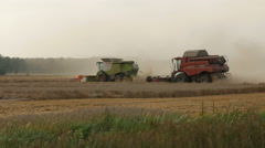 2016 August 21, Lithuania, Ukmerges region. Two Harvesters machine to harvest Stock Footage