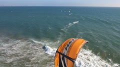 Kite Boarders test their skills on the Pacific Ocean Stock Footage