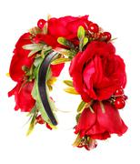 Red hoop from flowers, Hair accessories. Decoration for the head on white wood Stock Photos