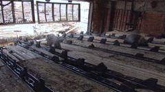 Pulp and Paper Plant. Empty Coneyer For Dragging and Cutting Logs. Idle Stock Footage