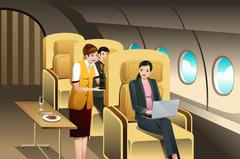 First Class Passengers Being Served by the Flight Attendant Stock Illustration