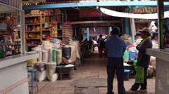 Walk through a latin american food market Stock Footage