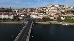 Coimbra old town city aerial view 4k Stock Footage