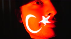 4K Turkish Flag Projection Over Man Face Stock Footage