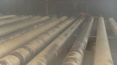 Pulp and Paper Plant. Beginning of Paper Making. Sheet of Raw Paper Moving on Stock Footage