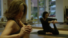 Yoga group of people in studio Stock Footage