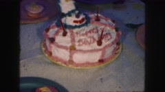 1958: a birthday cake is seen AMES, IOWA Stock Footage
