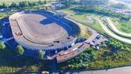 Road racing track stadium 4k aerial panoramic video. Sport building circuit race Stock Footage