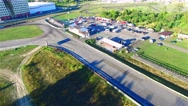 Race track 4k aerial panoramic video. Roads for motorcycle racing. Sport concept Stock Footage