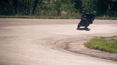 Motorcycle racing HD slow motion video. Moto rider in turn track. Extreme sport Stock Footage