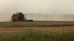 2016 August 21, Lithuania, Ukmerges region. Harvester machine to harvest wheat Stock Footage