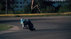 Motorcycle racing HD slow motion static video. Moto rider in turn. Extreme sport Stock Footage