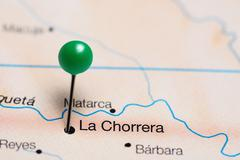 La Chorrera pinned on a map of Colombia Stock Photos