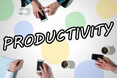 Word productivity with hands using smartphones Stock Photos