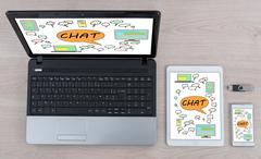 Chat concept on different information technology devices Stock Photos
