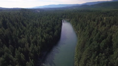 Aerial Flight Above Cle Elum River in Snoqualmie Forest Stock Footage